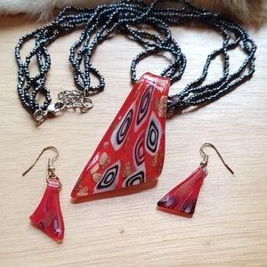 Art glass necklace earrings set